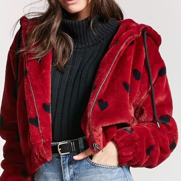 forever 21 heart fuzzy sweater